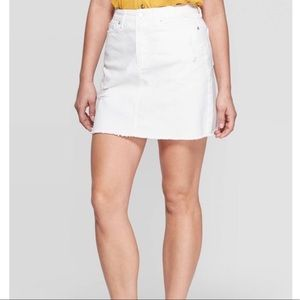 Universal Thread Off White Denim Mini Skirt 12